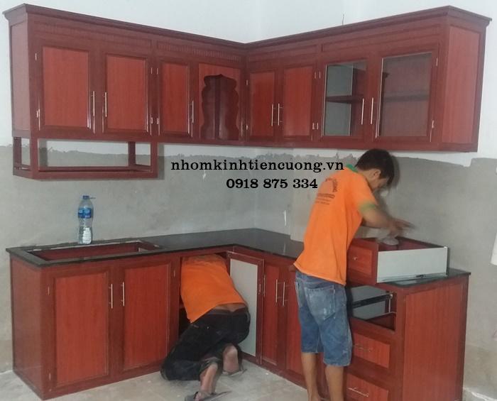 Thiết kế tủ bếp nhôm kính bền đẹp, chuyên nghiệp