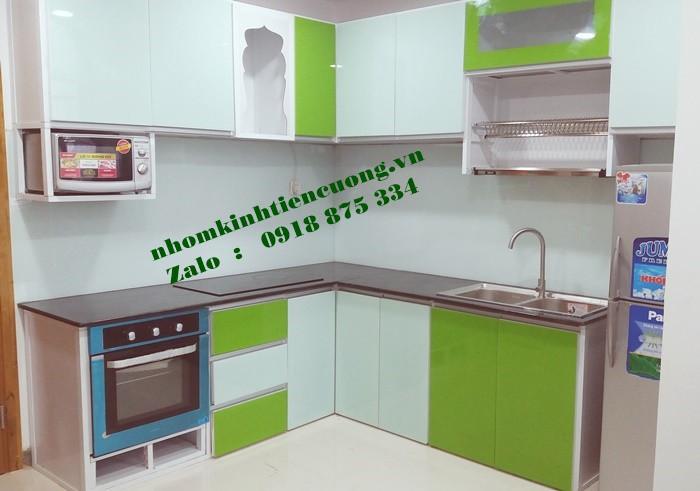 Tủ bếp nhôm kính màu cường lực